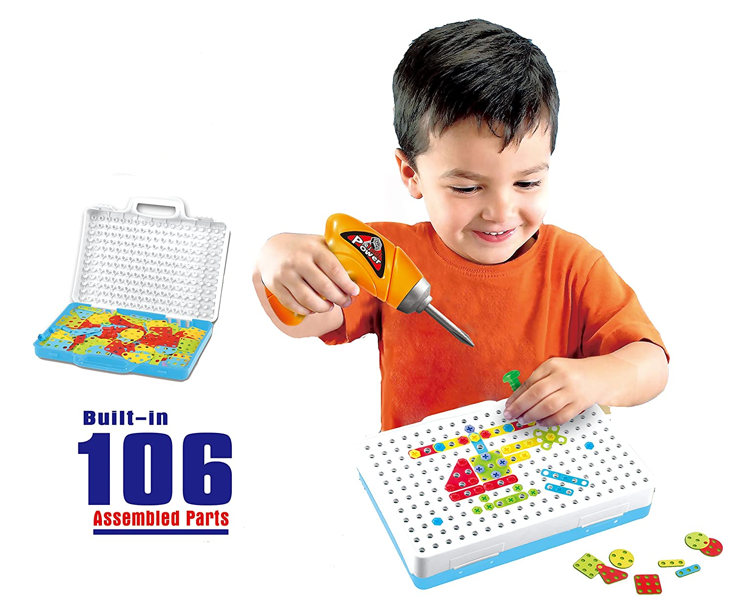 106 Pcs Design & Play Creative Construction Building Toys Tool Kit Workshop with Drill