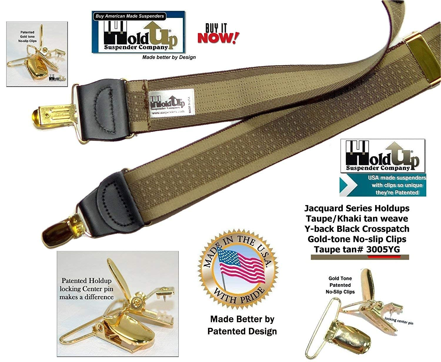 Holdup Brand Taupe and Tan Jacquard weave Y-back Suspenders with patented No-slip Gold-tone Clips Holdup Suspender Company Inc 3005YG