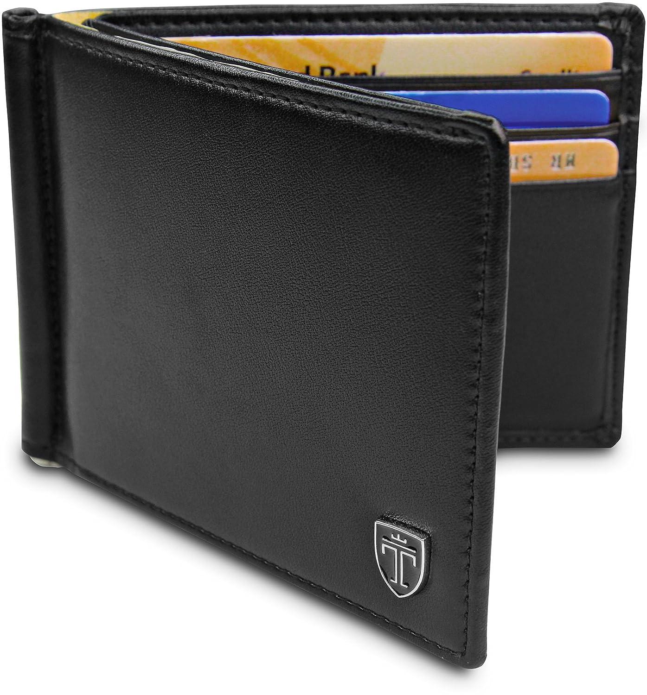 TRAVANDO ® Portefeuille avec Pince à Billets VIENNA Etui RFID Blocage contre Piratage Bancaire | Mince Porte-Monnaie avec Clip en Métal | Porte-Carte de Crédit Sécurisé, Porte-cartes pour Hommes