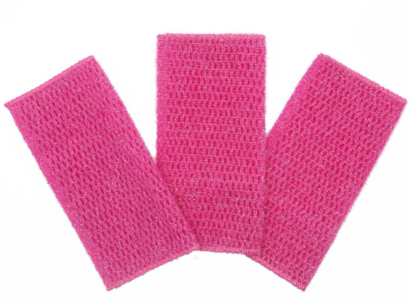 KLEIESH Dish Cloth for All Purpose Dish Washing 3 Pack (7''x9'', Deep Pink)
