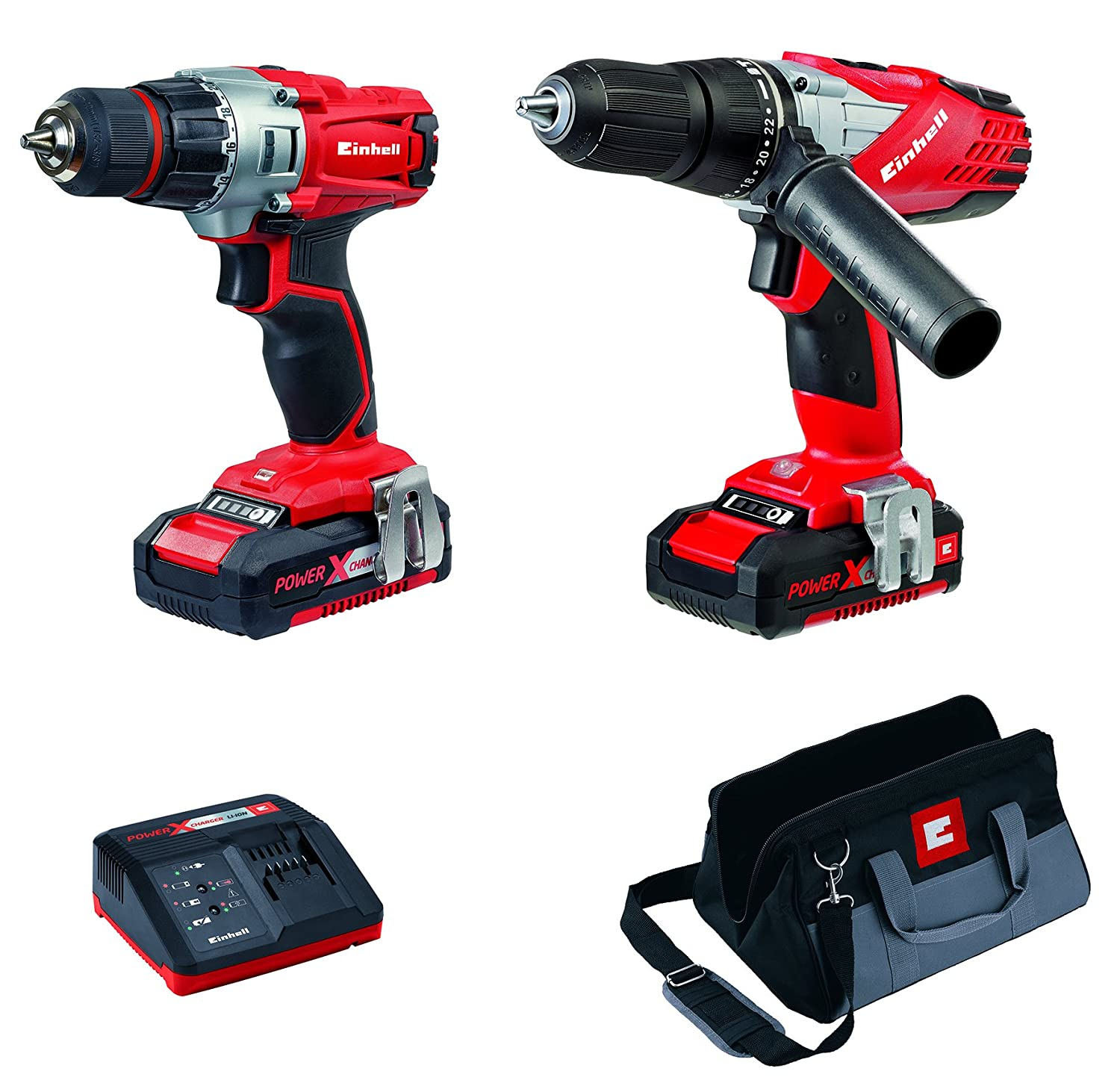 Einhell 4257200 Power X-Change Cordless Combi and Drill Driver, Twin Pack - Red