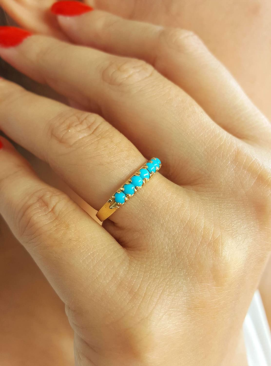 Details about  /14k solid gold ring turquoise ring natural diamond ring engagement ring SJR1166