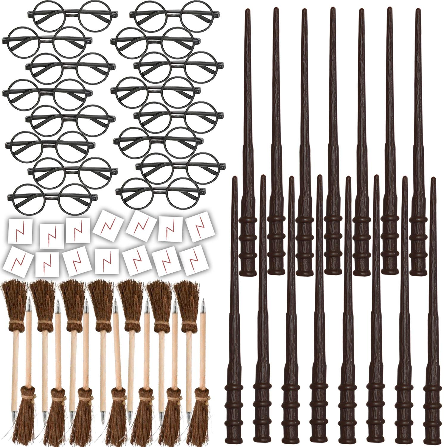 HeroFiber Wizard Party Favors for 16 - Includes Broom Pens, Wands, Glasses, and Lightning Scar Tattoos - Perfect for a Wizard School Theme Birthday Party (16 of Each) by HeroFiber