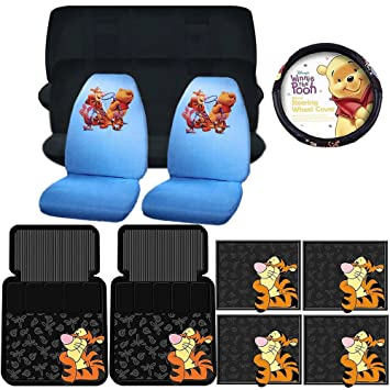 11PC WINNIE THE POOH HUNT SEAT COVERS FRONT REAR FLOOR MATS STEERING COVER SET