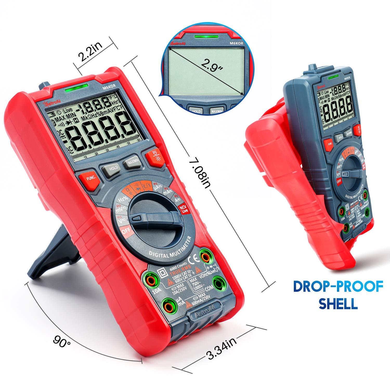 Digital Multimeter Auto Range 6000 Counts DC AC Voltage Current Meter Tester