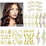 Konsait 7sheets Face Tattoo Sticker Metallic Temporary Transfer Tattoo Waterproof Face Jewel s for Women Girls Make Up…