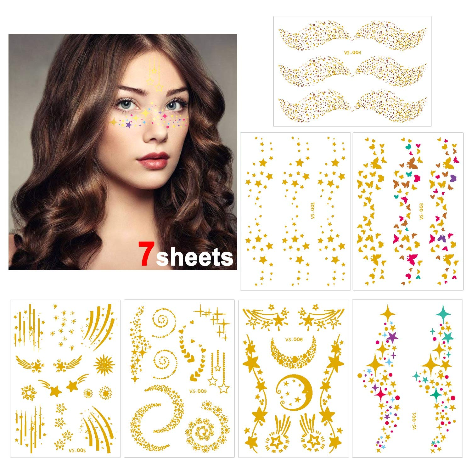 Konsait 7sheets Face Tattoo Sticker Metallic Temporary Transfer Tattoo Waterproof Face Jewel s for Women Girls Make Up Dancer Costume Parties, Shimmer Glitter Designs Gold Tattoos