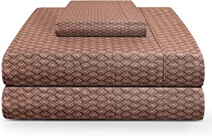 TRIDENT Twin Sheet Set, 100% Cotton, Percale Weave, Peach Finish, Deep Pockets fits Upto 15 inch, 3 Piece Bed Sheet Set (Twin, Christal Face) - Feather Tales Collection