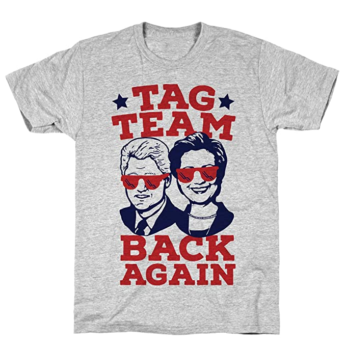 ebb9ec0638 Amazon.com: LookHUMAN Tag Team Back Again Hillary Clinton & Bill Clinton  Athletic Gray Men's Cotton Tee: Clothing