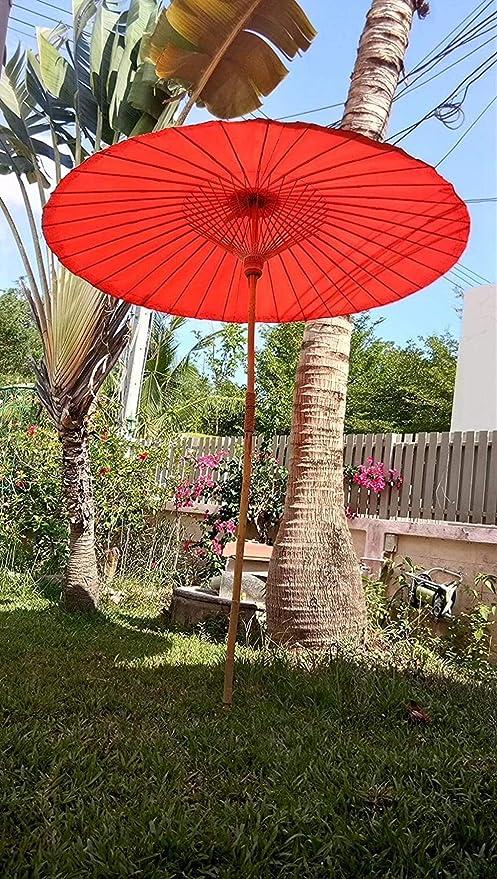 Sombrilla Paraguas de Sol 24 Bone aleación de Aluminio de Sol al Aire Libre a Mano del Paraguas Recto Patio Jardín Centro de Columna Grande del Paraguas Paraguas (Color : Orange): Amazon.es: