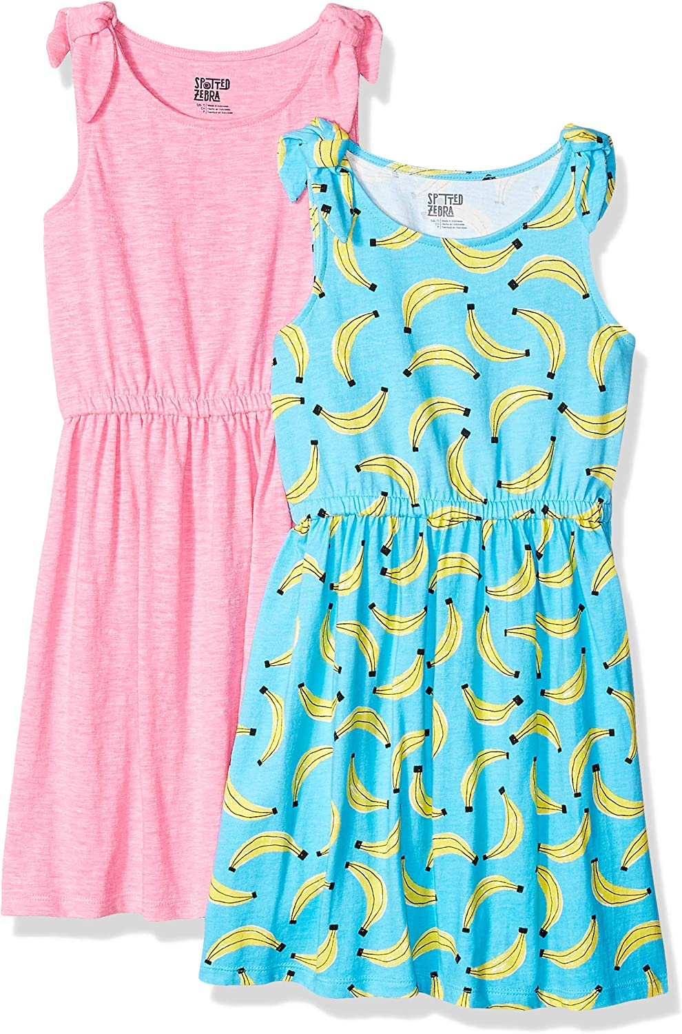 Spotted Zebra Girls 2-Pack Knit Sleeveless Knot Shoulder Dresses