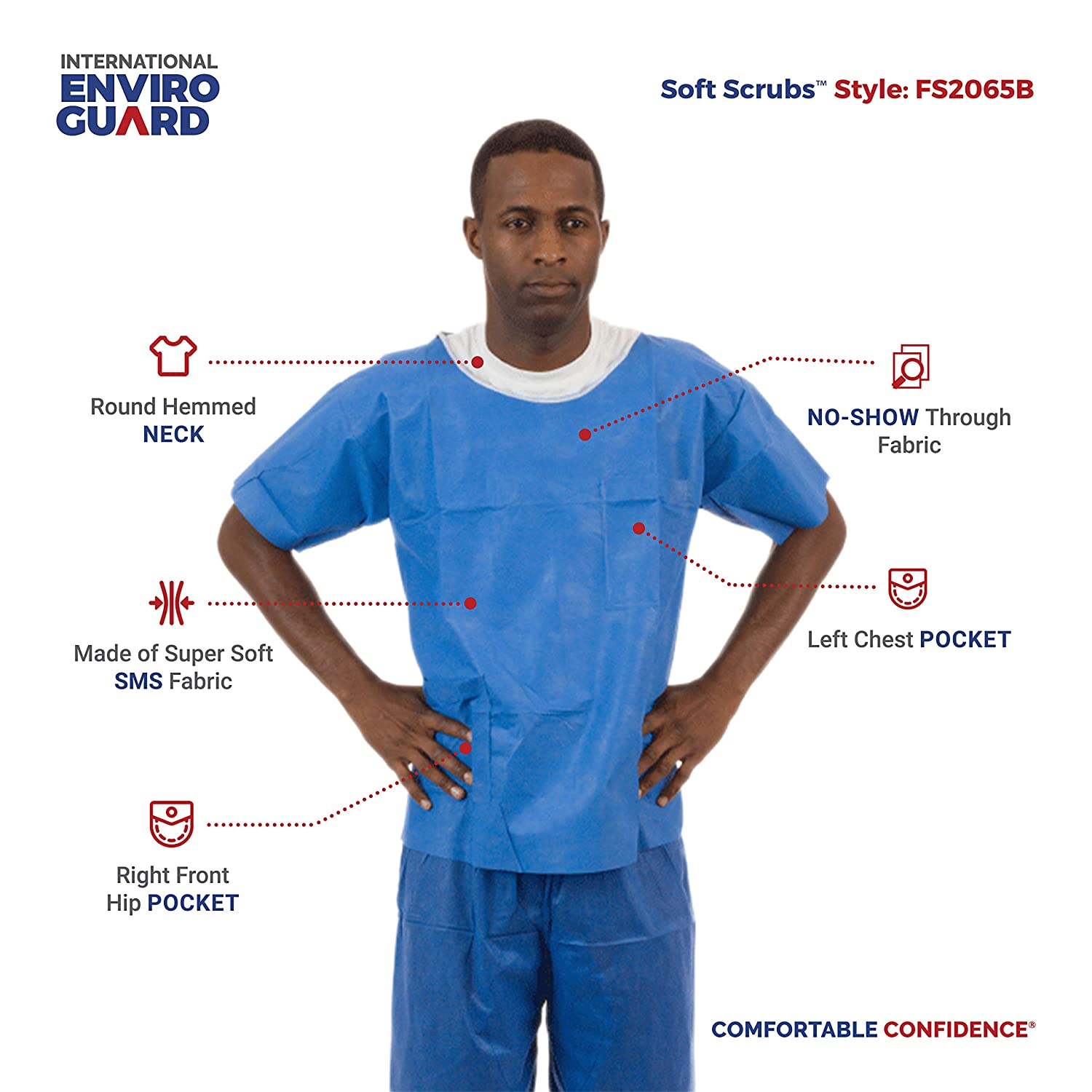 707a3310a64 Amazon.com: International Enviroguard Soft Scrubs   Protective Disposable  Scrub Shirts & Pants for Men and Women   Blue, Pack of 50 (2XL, Pants):  Home ...