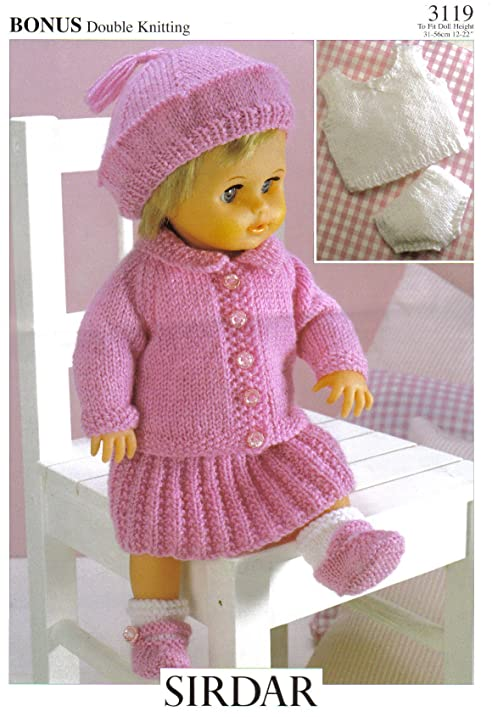 Amazon.com: Sirdar Dolls Clothes Knitting Pattern, 3119: Doll\'s ...