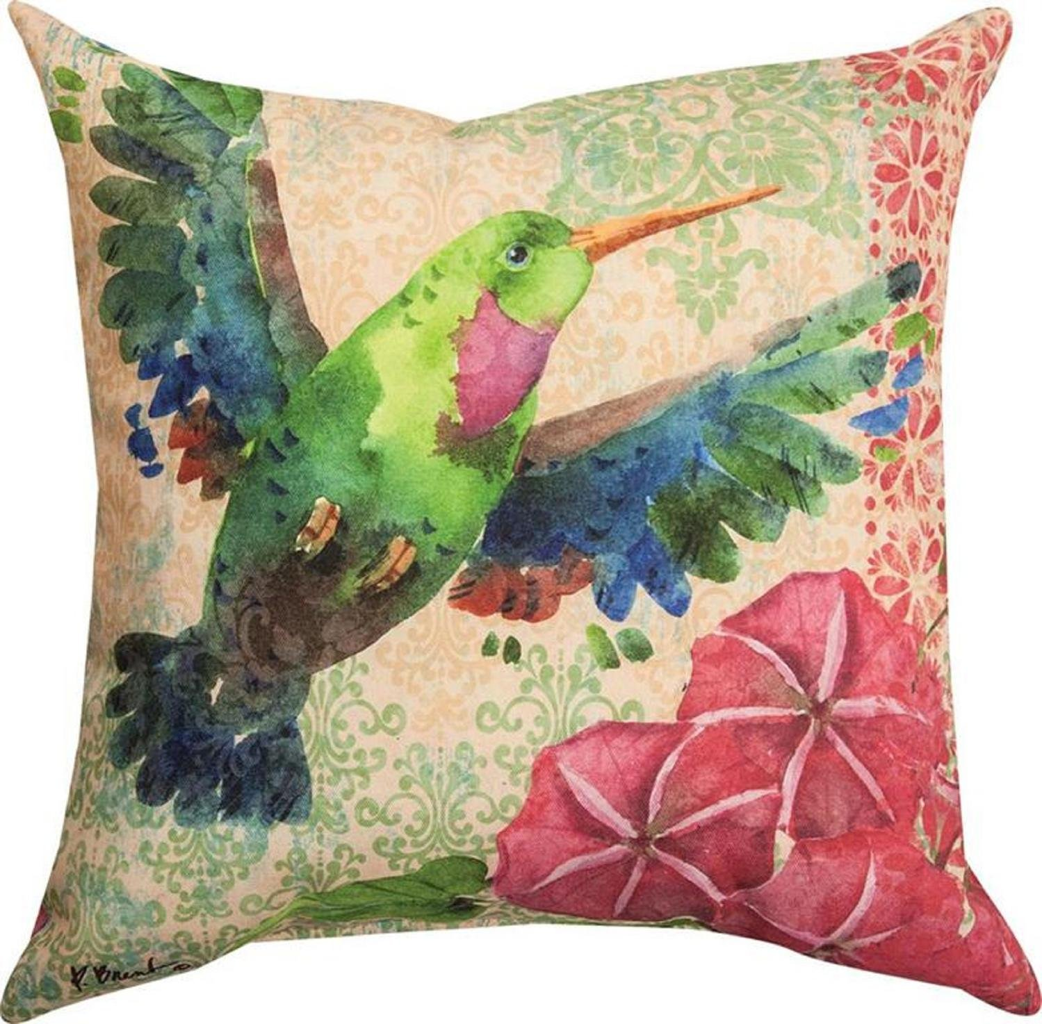 CC Home Furnishings 18 Pink and Green Humming Bird Printed Pillow with Coordinating Trim