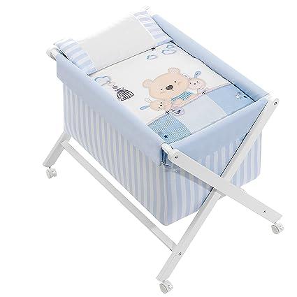 Minicuna mibebestore Plegable Blanco/Azul Osito: Estructura + ...