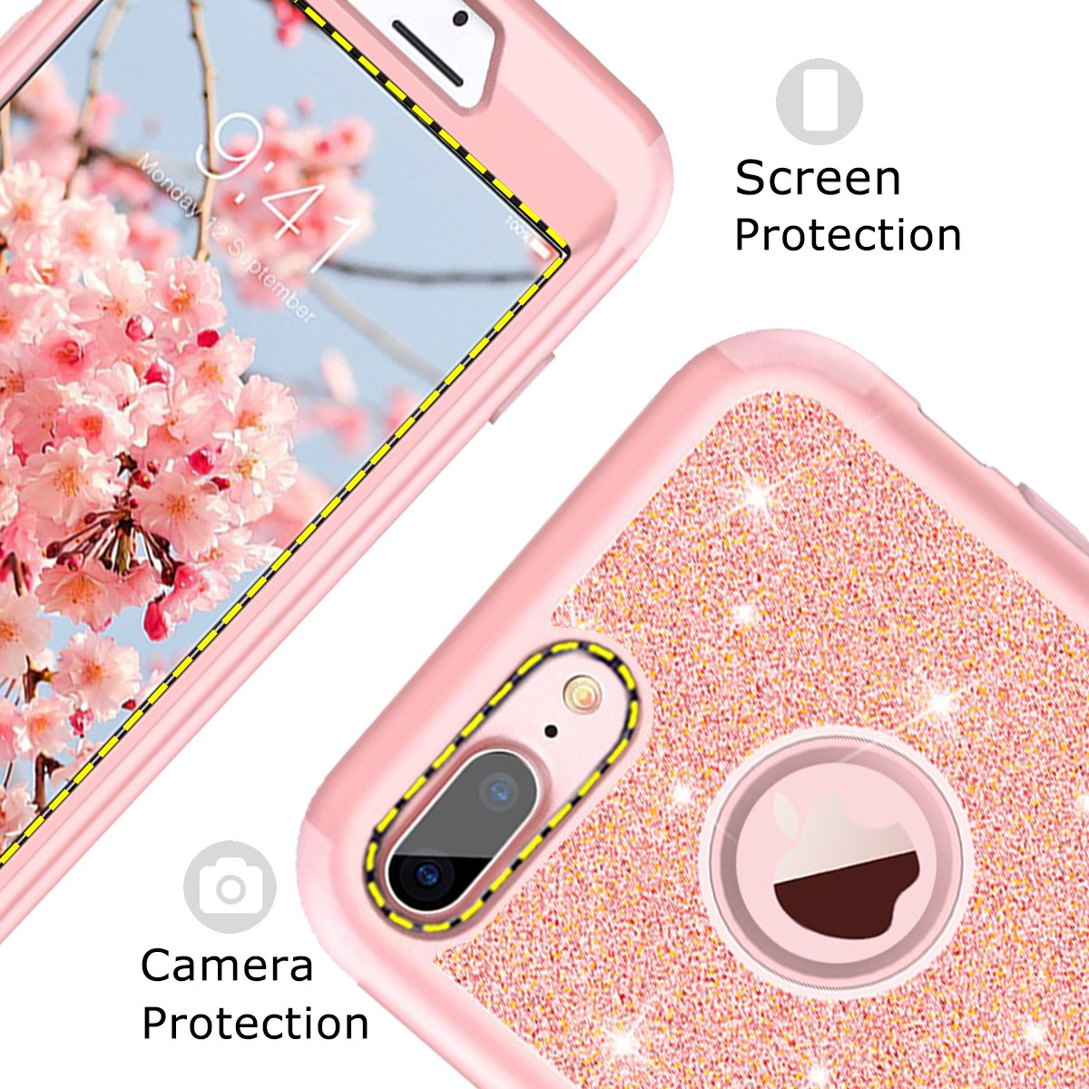 iPhone 7 Plus Case Rose Gold for Women Girls iPhone 8 Plus Case Tobomoco Shockproof Drop Protection 3 in 1 Glitter Bling Sparkly Hybrid Hard PC Soft Silicone Case for iPhone 7plus 5.5
