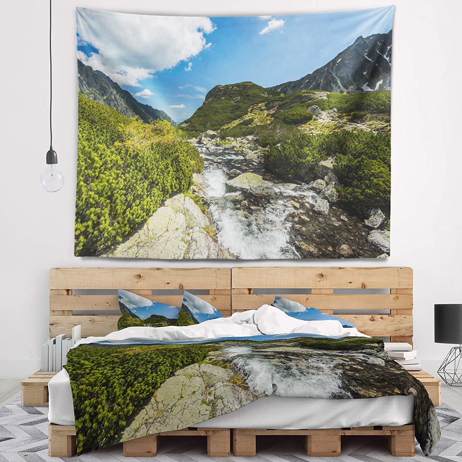 Designart TAP9863-60-50 Alpine Stream in High Mountains Wall Tapestry Large//60 x 50