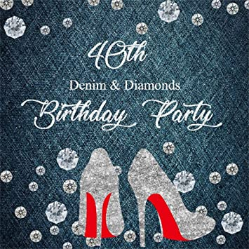 Csfoto 10x10ft Backdrop For Birthday Photography Background Lady 40th Birthday Party Decorations Denim Diamonds High Heeled Shoes Woman Pricess Photo