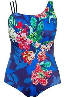 63aee63b5181 Ulla Popken Damen große Größen   Badeanzug mit Blütenmuster   Rechter  Träger dreigeteilt   Softcup-