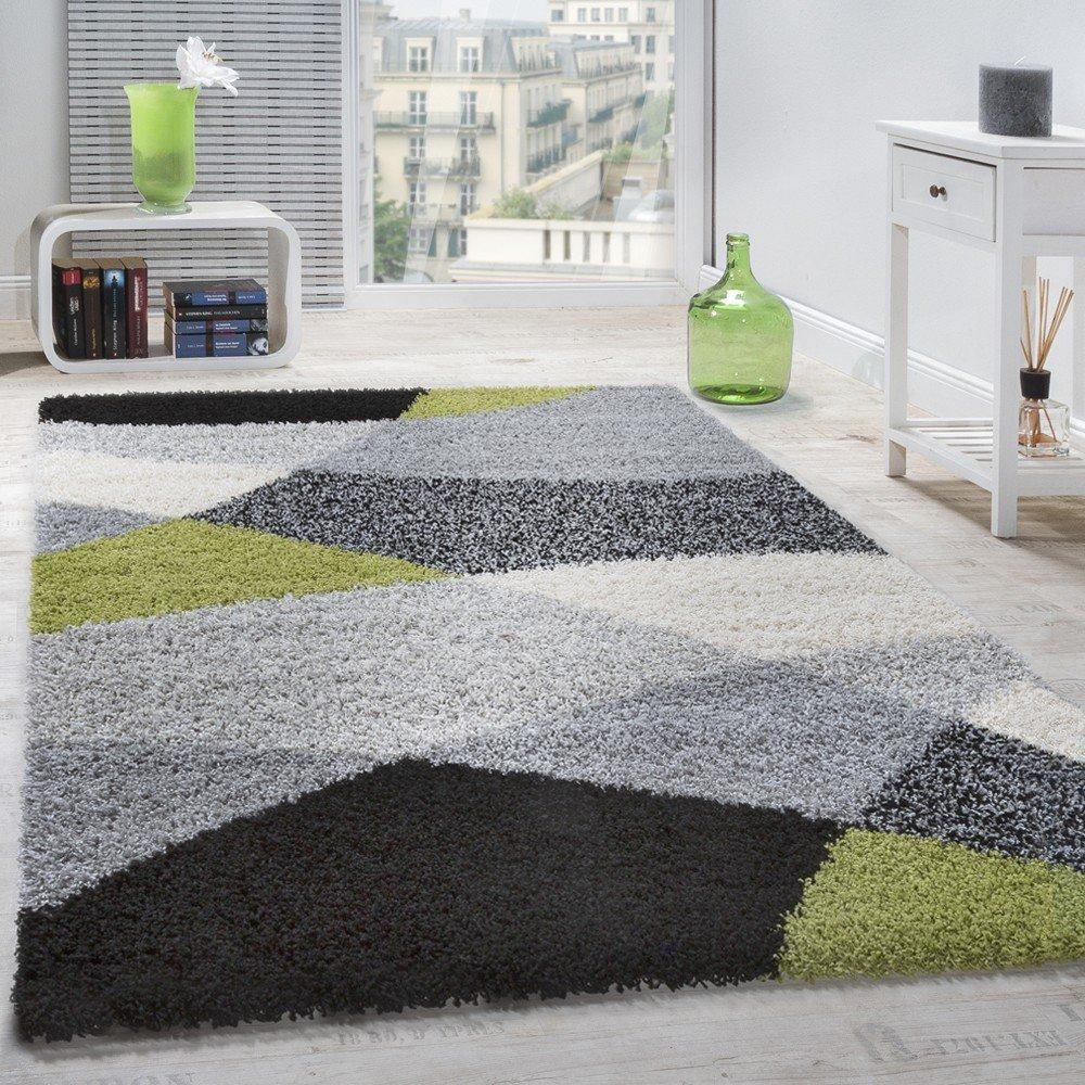 Paco Home Shaggy Teppich Hochflor Langflor Weich Geometrisch Gemustert Grau Schwarz Grün, Grösse 300x400 cm