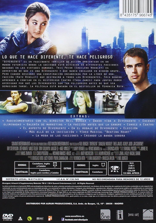 Divergente [DVD]: Amazon.es: Shailene Woodley, Theo James, Neil Burger, Shailene Woodley, Theo James, Erik Feig: Cine y Series TV