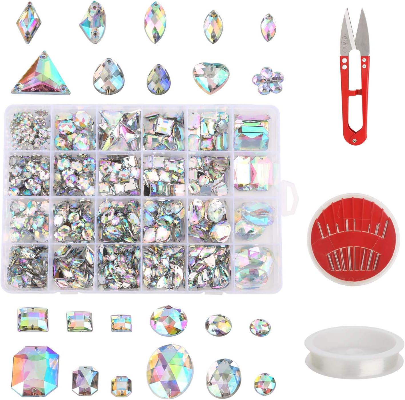 MWOOT 700 Piezas Diamantes de Acrílicas para Decorar Prendas Ropa Manualidades, Kit de Piedras Decorativas (Varios Tamaños y Formas) con Tijera de Costura, Agujas y Cordón, AB Perlas