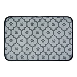 "Bone Dry CAMZ36741 Large Microfiber Pet Mat, 14"" x 24"", Lattice Gray"