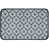 DII Bone Dry Large Microfiber Pet Mat for Food, Water, Treats, 14x24, Ultra-Absorbent & Machine Washable Food Mat for Dogs and Cats-Gray Lattice Paw