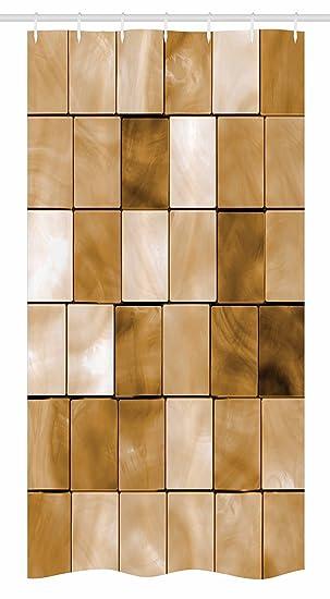 Beige Stall Duschvorhang Von Ambesonne Faded Fliesen Holz Cubes
