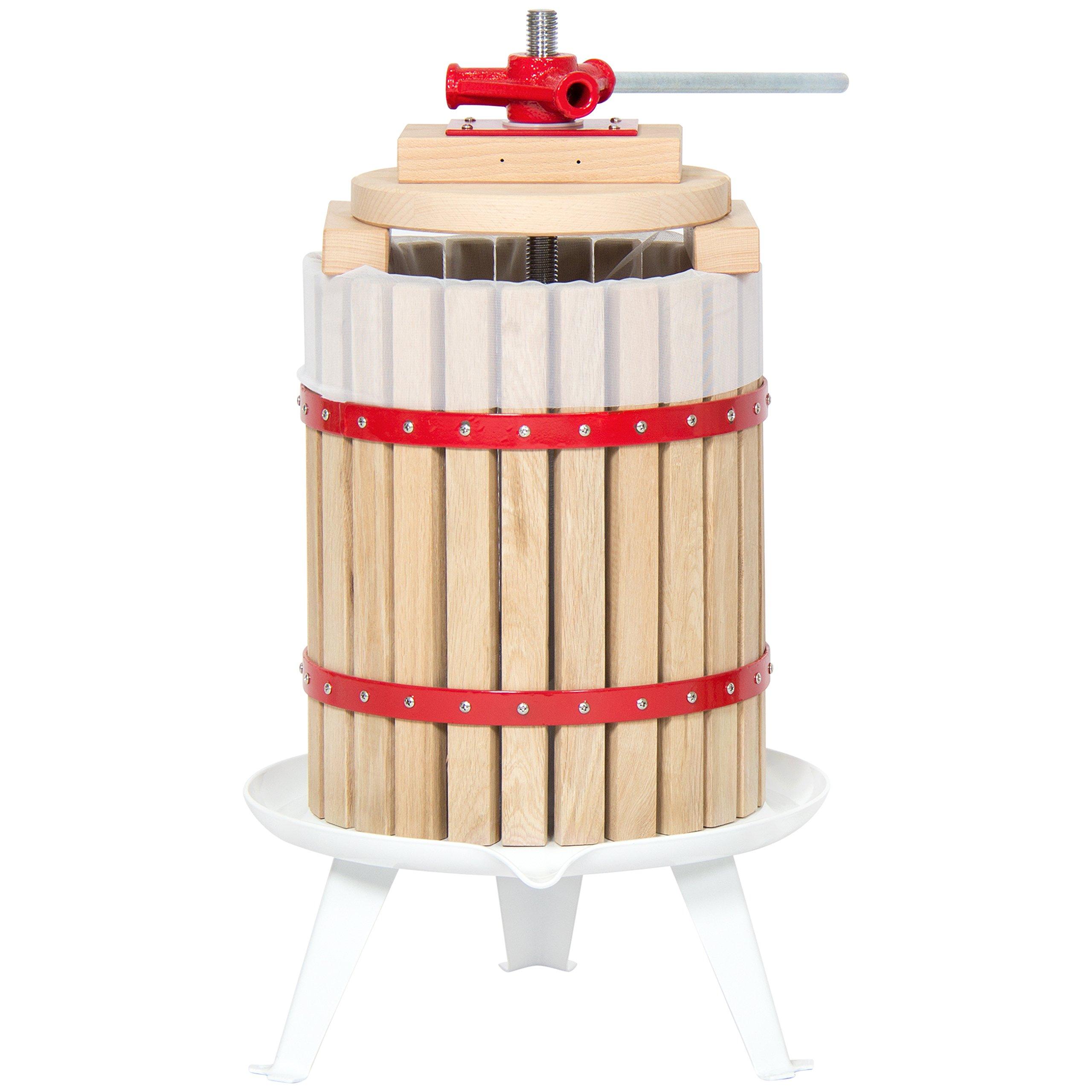 Best Choice Products 18L Kitchen Fruit Juicer Wine Basket Press Juice Maker- Natural/Red