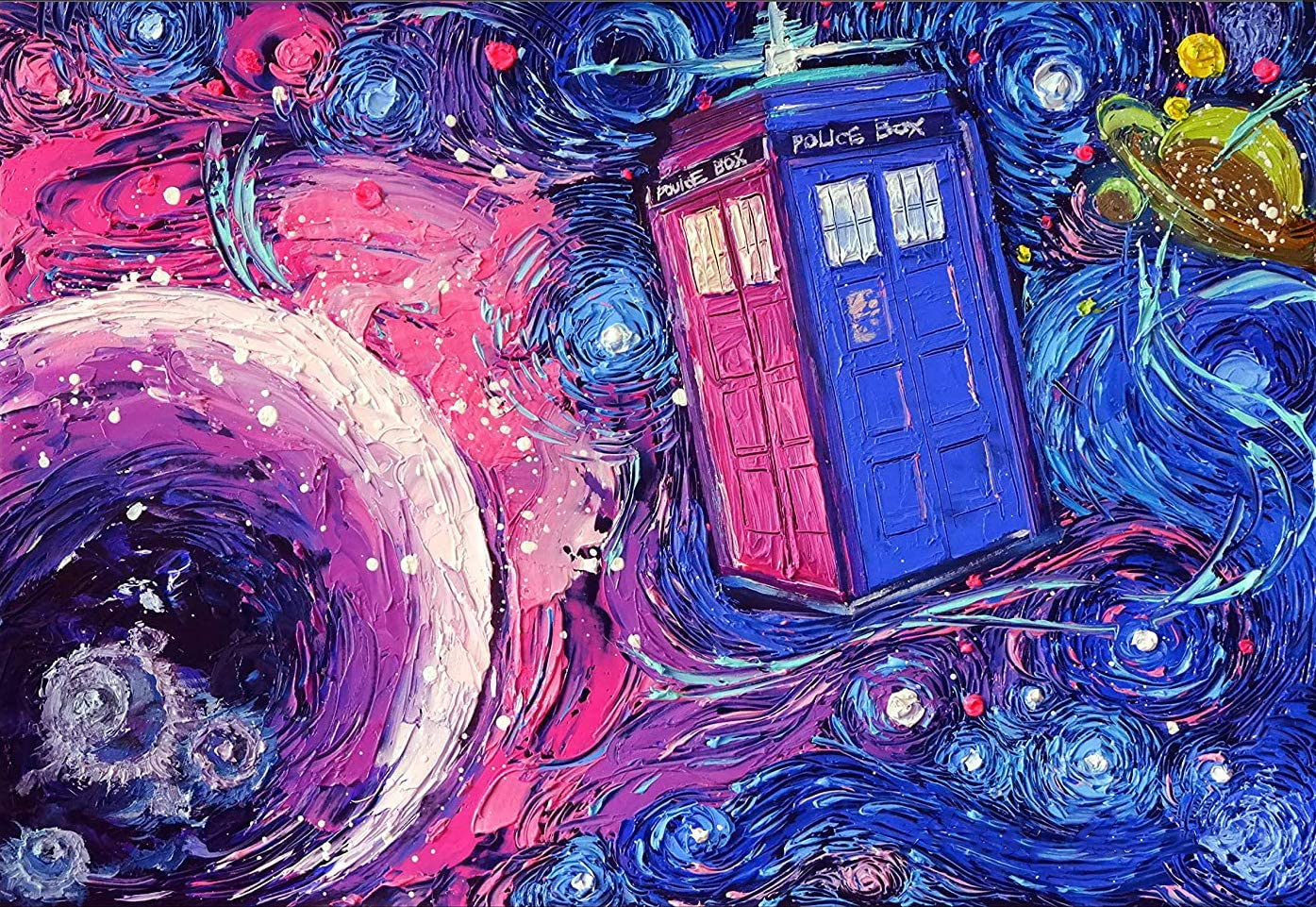 DIY 5D Diamond Painting Kits for Adults Full Drill Diamond Painting by Number Tardis Dr Who Doctor Telephone Booth Wall Decor Vincent Van Gogh Starry Night for Home Wall Decor 11.8x15.8in