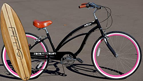 Fito Anti Rust Light Weight Aluminum Alloy Frame, Marina Alloy 7-Speed for Women – Black Pink, 26 Wheel Beach Cruiser Bike Bicycle