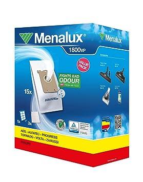 Menalux 1800 VP - Juego de filtros para aspiradoras Electrolux/Phillips (15 bolsas, 3 filtros de motor, 1 filtro HEPA 13 lavable, para modelos S-Bag)