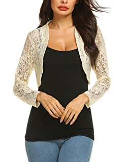 b0bbd6d0c Grabsa Women's 3 4 Sleeve Lace Shrugs Bolero Cardigan Crochet Sheer Crop  Jacket