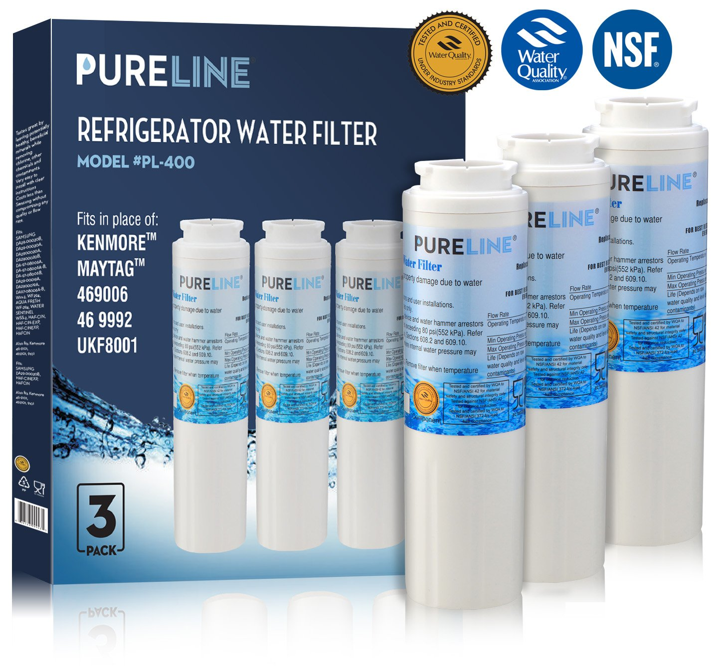 Maytag UKF8001 PUR Fast Flow Water Filter Replacement UKF8001AXX, EDR4RXD1, Whirlpool 4396395, Puriclean II, Kenmore 9006 By Pure Line (3 Pack)