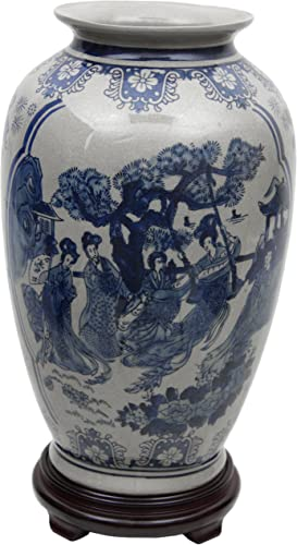 Oriental Furniture 14″ Ladies Blue White Porcelain Tung Chi Vase