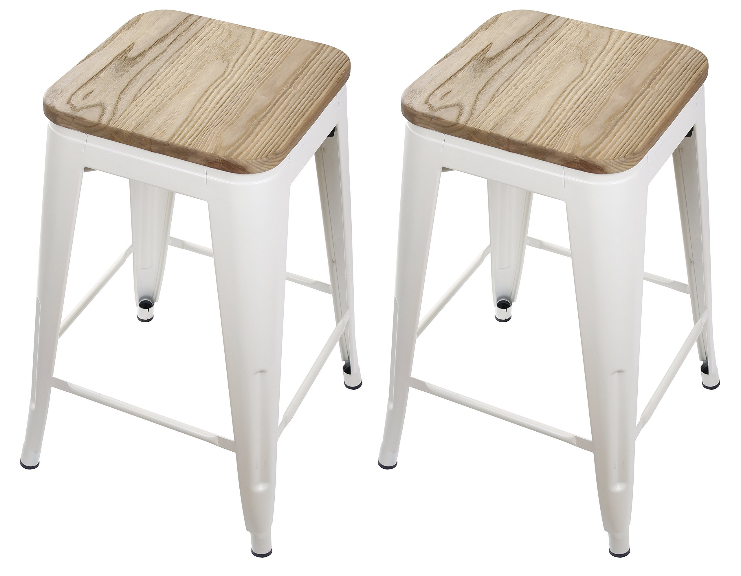 GIA Cream White 24'' Metal Stool with Wooden Seat(Set of 2) - Counter Height Square Backless - Tolix Style - Weight Capacity of 300+ Pounds - Ready to use - Extra Durable and Stackable