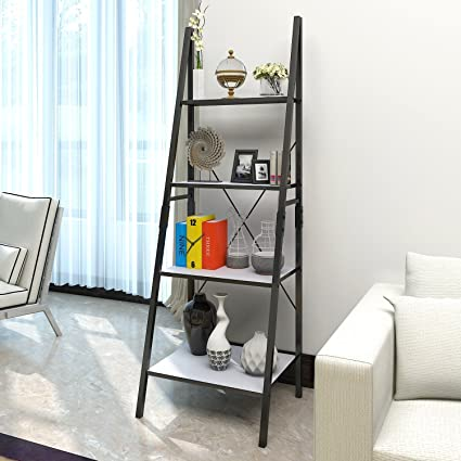 Lifewit Leaning Ladder Bookshelf 4 Tiers Bookcase Display Wall Storage Shelf Unit Carbon Steel