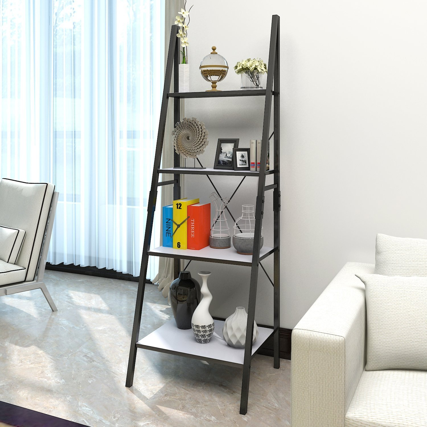 Lifewit Leaning Ladder Bookshelf, 4 Tiers Bookcase Display Wall Storage