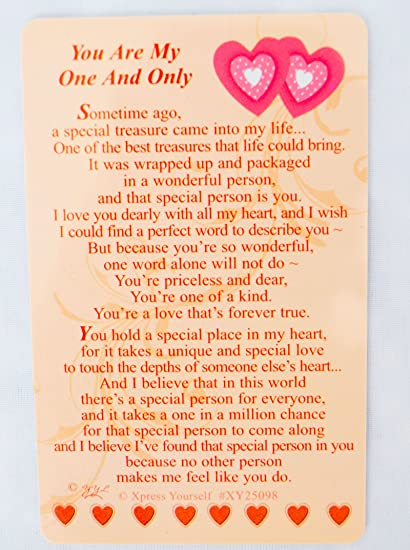You Are My One And Only Souvenir Portefeuille Carte Amour