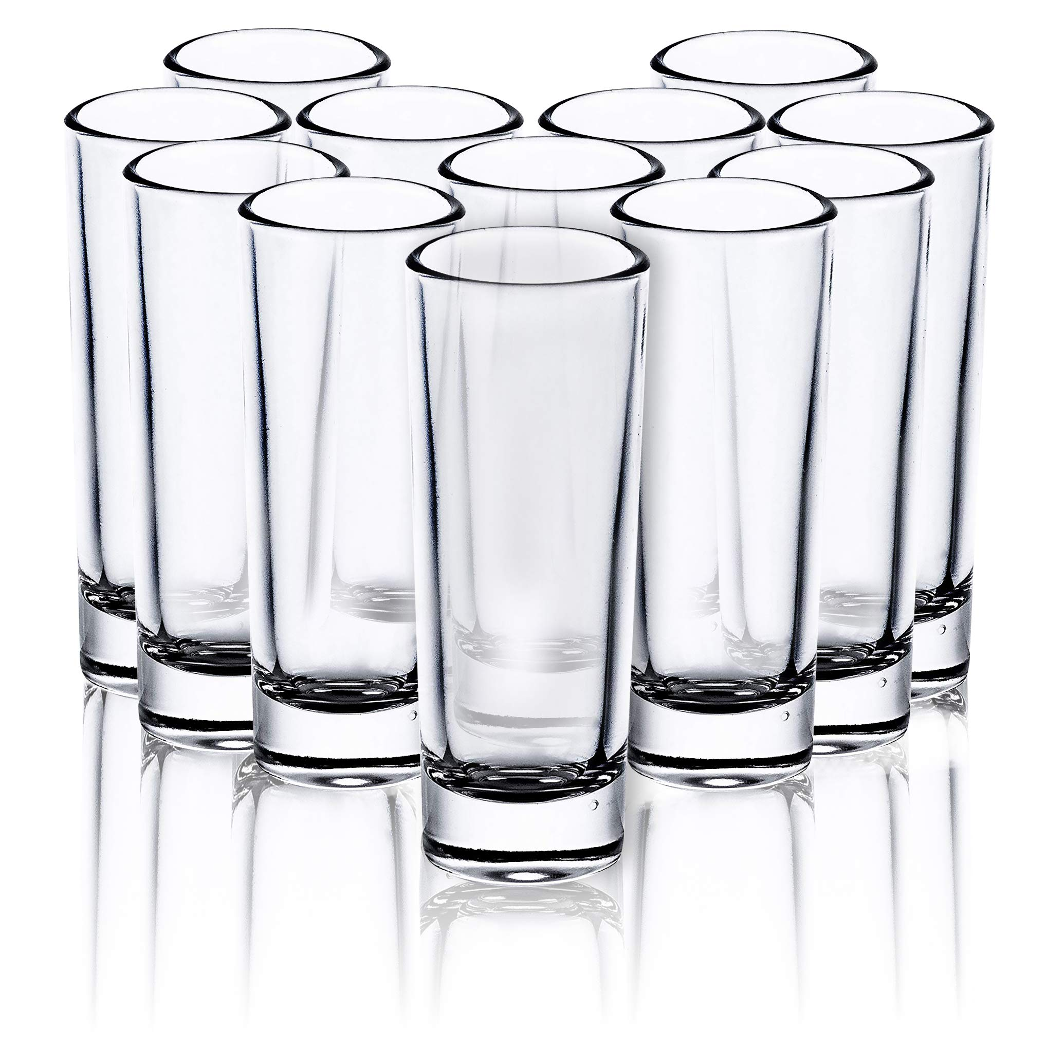 Juvale Bulk 24-Pack Clear Shooters Tall Shot Glasses for Parties, Parfaits, Dessert, Tequila, Whiskey, Vodka - 2 Ounces