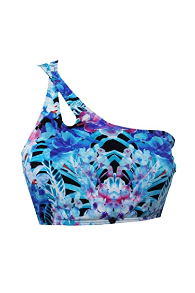 7f08397998c1a Image Unavailable. Image not available for. Color  Bar III Womens Tropical Print  One Shoulder Swim Top ...