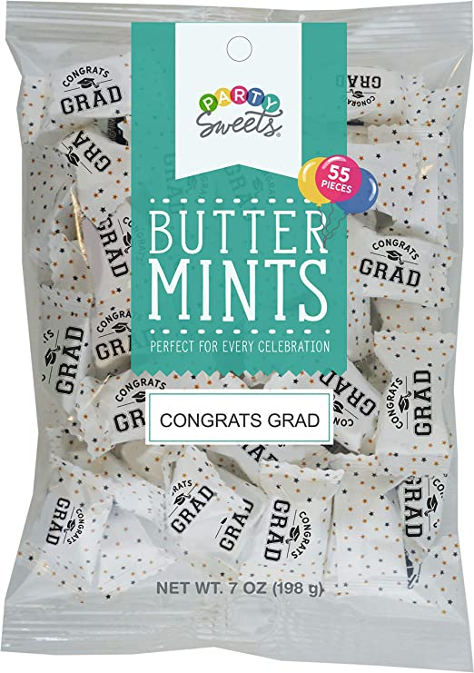 Amazon Com Party Sweets Graduation Buttermints By Hospitality Mints Appx 300 Mints 7 Ounce Bags Pack Of 6 Candy Mints Grocery Gourmet Food