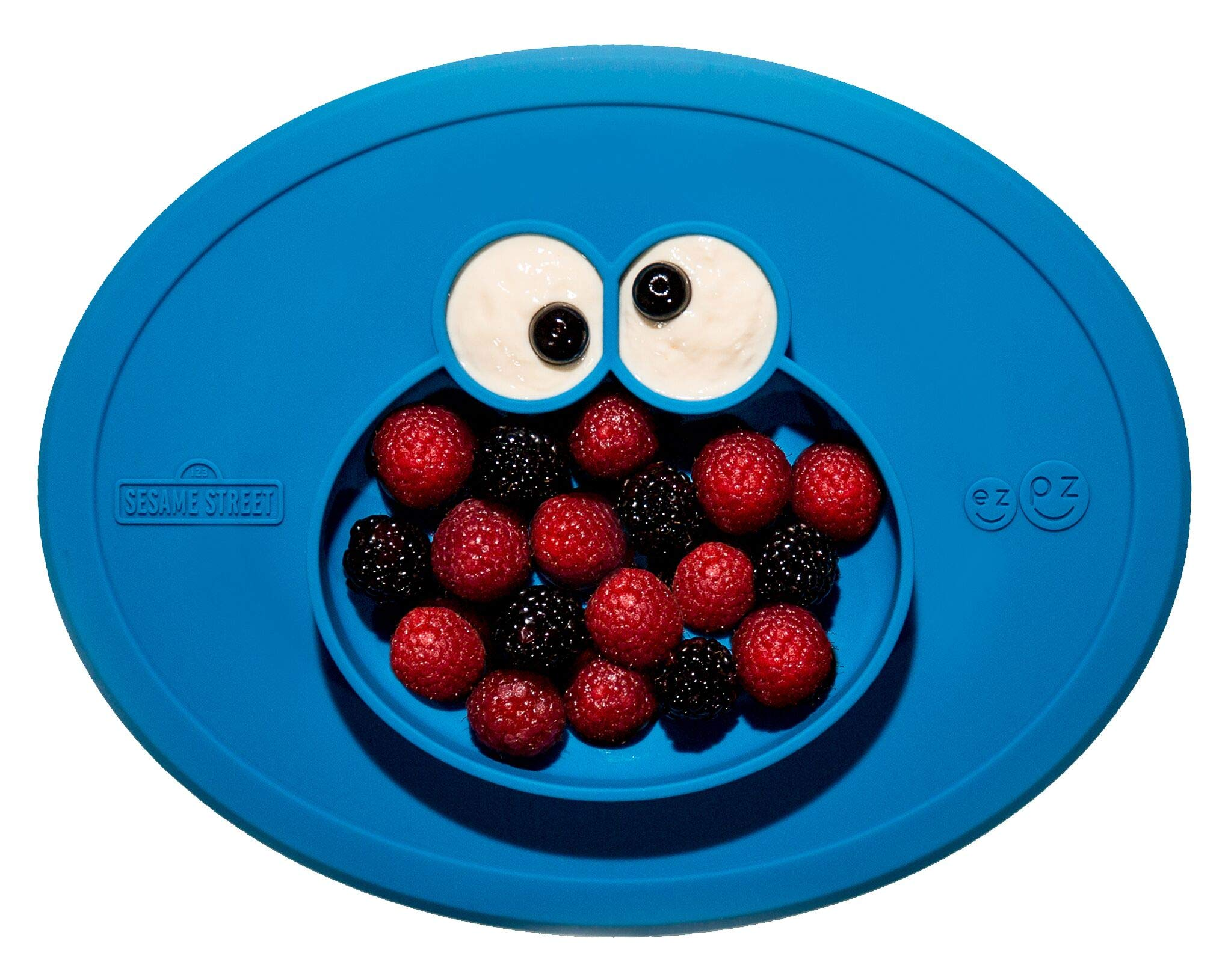 ezpz Sesame Street Cookie Monster Mat - One-Piece Silicone placemat + Plate (Blue) by ezpz