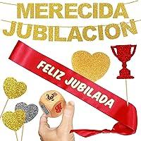 Inedit Festa Jubilación Banda Honorífica Feliz Jubilada y Guirnalda Feliz Jubilación Personalizable