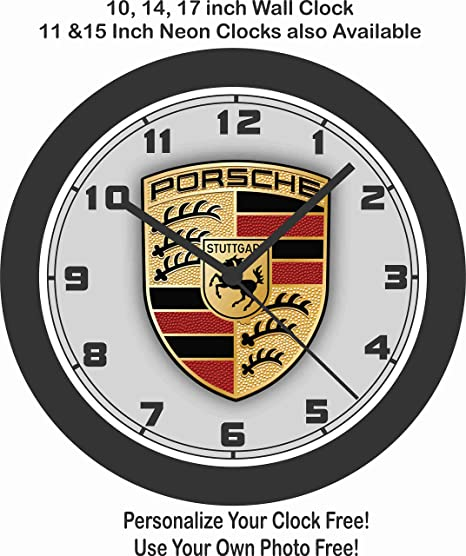 Jim's Classic Clocks Porsche Logo Wall Clock-Free USA Ship