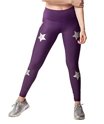 cbb75be24b4e Amazon.com  Activefit Silver Stars Stretch High Waisted Workout Yoga Pants  Black Leggings for Women  Clothing