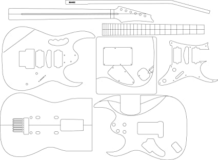 amazon com electric guitar layout template jem musical instruments