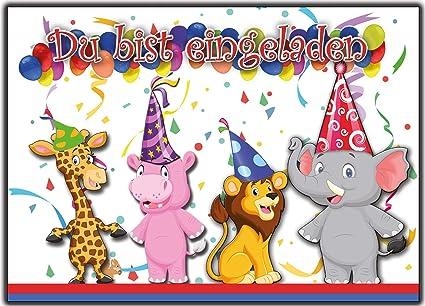 12 Tarjetas De Invitación Para Cumpleaños Infantiles Zoo