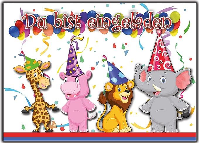 12 Tarjetas de invitación para cumpleaños infantiles Zoo ...